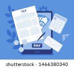 online tax payment via tablet.... | Shutterstock .eps vector #1466380340