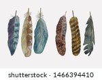 feather bohemian boho style... | Shutterstock . vector #1466394410