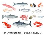 set of seafood. fish  mollusks... | Shutterstock .eps vector #1466456870