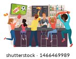 Stock vector people watching football and celebrating in bar flat vector illustration friends watching football 1466469989