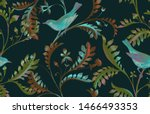 seamless pattern with birds and ... | Shutterstock . vector #1466493353