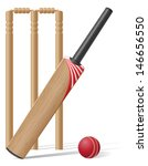 set equipment for cricket... | Shutterstock .eps vector #146656550