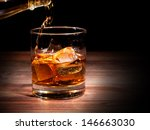 pouring whiskey drink into glass   Shutterstock . vector #146663030