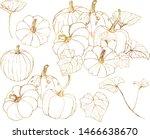 Vector Golden Gourds Set. Hand...
