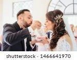 bride and groom eating wedding... | Shutterstock . vector #1466641970