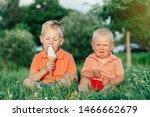 Two Caucasian Funny Children...