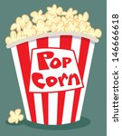 popcorn in a red and white tub | Shutterstock .eps vector #146666618