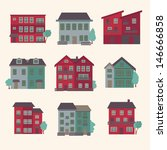 retro town house icons | Shutterstock .eps vector #146666858
