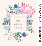 vintage wedding card with... | Shutterstock .eps vector #1466691170