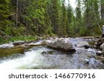 North Ural Mountain River...