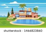 modern villa on residence in... | Shutterstock .eps vector #1466823860