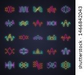 sound and audio waves neon... | Shutterstock .eps vector #1466842043