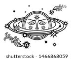 planet saturn with a human face ...   Shutterstock .eps vector #1466868059