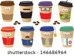 coffee cups characters   cute... | Shutterstock .eps vector #146686964