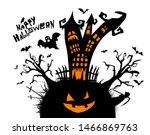 happy halloween. a castle of...   Shutterstock .eps vector #1466869763