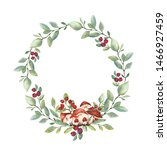 Watercolor Wreath Of Twigs And...