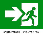 green emergency exit sign.... | Shutterstock .eps vector #1466954759