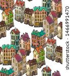city pattern house and buildings | Shutterstock . vector #1466991470