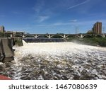 Violent River Water At Dam. Th...