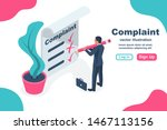 Stock vector complaint concept isometric concept man wrote a complaint vector illustration d esign measures 1467113156