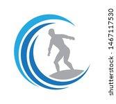 surfer and blue waves  logo... | Shutterstock .eps vector #1467117530