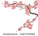 sakura  vector postcard cherry... | Shutterstock .eps vector #1467155363