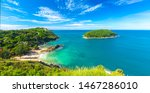 Small photo of The best beaches in Phuket from one point - the beaches of Ya Nui, Nai Harn and Ao Sane. Tropical paradise in Thailand - blue sea and sky, white clouds and emerald jungle and coral reefs.