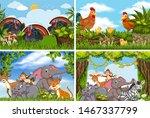 set of various animals in... | Shutterstock .eps vector #1467337799