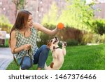 Stock photo young woman playing with adorable jack russell terrier dog outdoors 1467376466