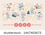 greeting card with cute cartoon ... | Shutterstock .eps vector #1467403673
