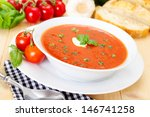 fresh tomato soup in a white... | Shutterstock . vector #146741258