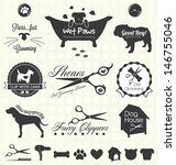 Stock vector vector set pet grooming labels 146755046