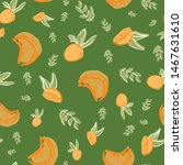 oranges with leaves seamless... | Shutterstock .eps vector #1467631610