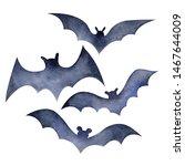 Set Of Bats In Watercolor....