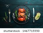 cooked crabs with spices on a... | Shutterstock . vector #1467715550