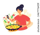 young woman coocking noodles in ... | Shutterstock .eps vector #1467776459