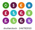 exchange rate circle icons on...