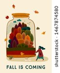 autumn illustration with cute... | Shutterstock .eps vector #1467874580