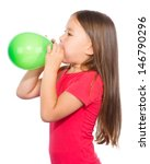 Little Girl Is Inflating Green...