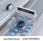 Blue SUV passing through toll gate without stop by ETC (Electronic Toll Collection System). 3D rendering image. - stock photo