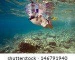 happy boy  swimming in a sea | Shutterstock . vector #146791940