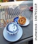 latte and cinnamon rolls for... | Shutterstock . vector #1467921119