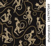 leopard and jaguar with gold... | Shutterstock .eps vector #1467997349