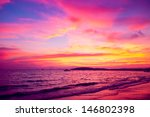 tropical sunset on the beach.... | Shutterstock . vector #146802398