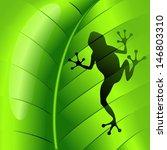 Frog Shape On Green Leaf