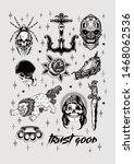 hand draw vintage disain tattoo ... | Shutterstock . vector #1468062536