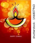 vector diwali lamp with lighting | Shutterstock .eps vector #146807963