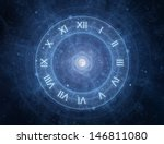Time - roman clock - new age spiritual space concept - stock photo