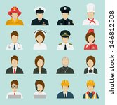 Profession Icons Set  Vector.