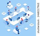 isometric concept of business... | Shutterstock . vector #1468217963